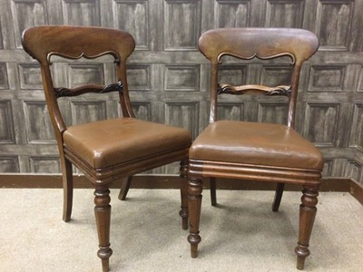 Lot 1656 - A SET OF FOUR EARLY VICTORIAN MAHOGANY DINING CHAIRS