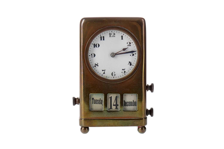 Lot 1733 - AN EARLY 20TH CENTURY PERPETUAL CALENDAR DESK CLOCK