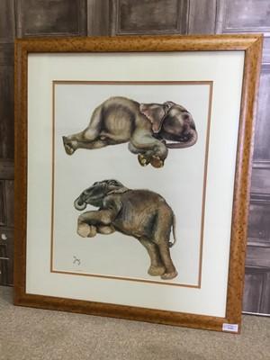 Lot 1356 - BABY ELEPHANTS, A LIMITED EDITION PRINT BY JOY ADAMSON