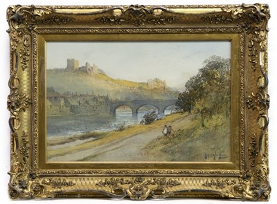 Lot 142 - RIVER SCENE, NORTHUMBERLAND, A WATERCOLOUR BY THOMAS HUTTON