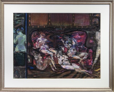 Lot 619 - OBSERVING WOMEN, A PASTEL BY SIR ROBIN PHILIPSON