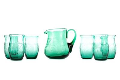 Lot 1044 - A GREEN GLASS LEMONADE SET