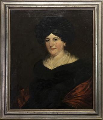 Lot 145 - MID-19TH CENTURY PORTRAIT OF A LADY WITH A BONNET