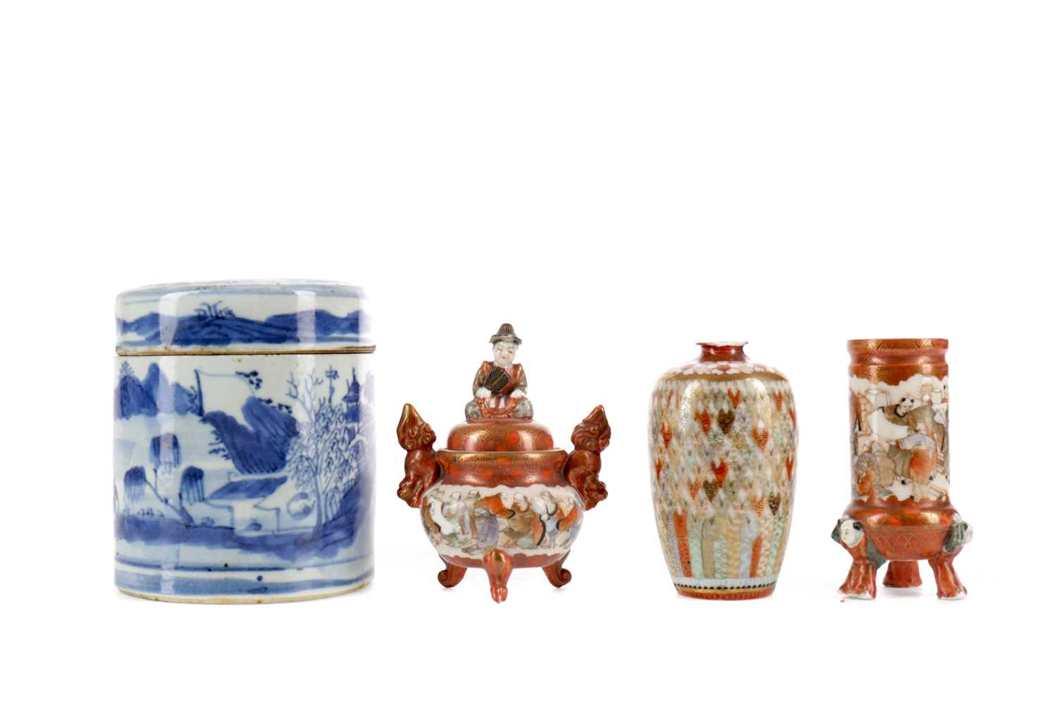 Lot 715 - AN EARLY 20TH CENTURY CHINESE BLUE AND WHITE LIDDED JAR, JAPANESE KUTANI VASES AND A KORO