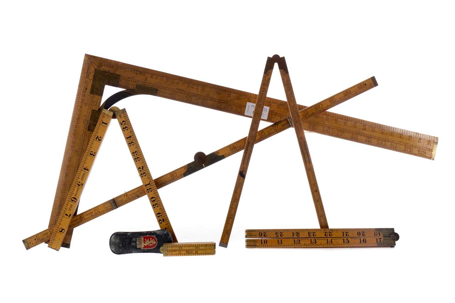 Lot 1729 - A DRIVER'S OF MANCHESTER SET SQUARE, ALONG WITH FIVE FOLDING RULES
