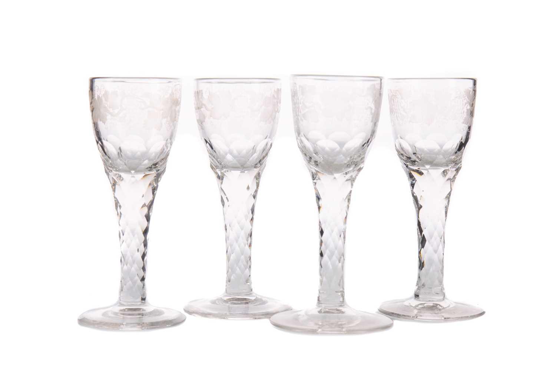 Lot 280 - A SET OF FOUR GEORGE III WINE GLASSES