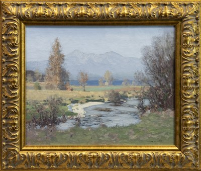 Lot 40 - DALMALLY BURN WITH BEN CRUACHAN IN THE DISTANCE, AN OIL BY GEORGE HOUSTON