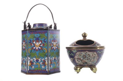 Lot 97 - AN EARLY 20TH CENTURY CHINESE CLOISONNÉ TEAPOT AND COVER, ALONG WITH AN INCENSE BURNER