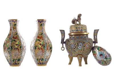 Lot 98 - A PAIR OF MID-20TH CENTURY CHINESE CLOISONNÉ VASES, ALONG WITH TWO CENSORS AND AN EGG