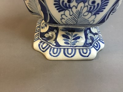 Lot 70 - A COLLECTION OF FOUR DUTCH DELFTWARE BLUE & WHITE VASES