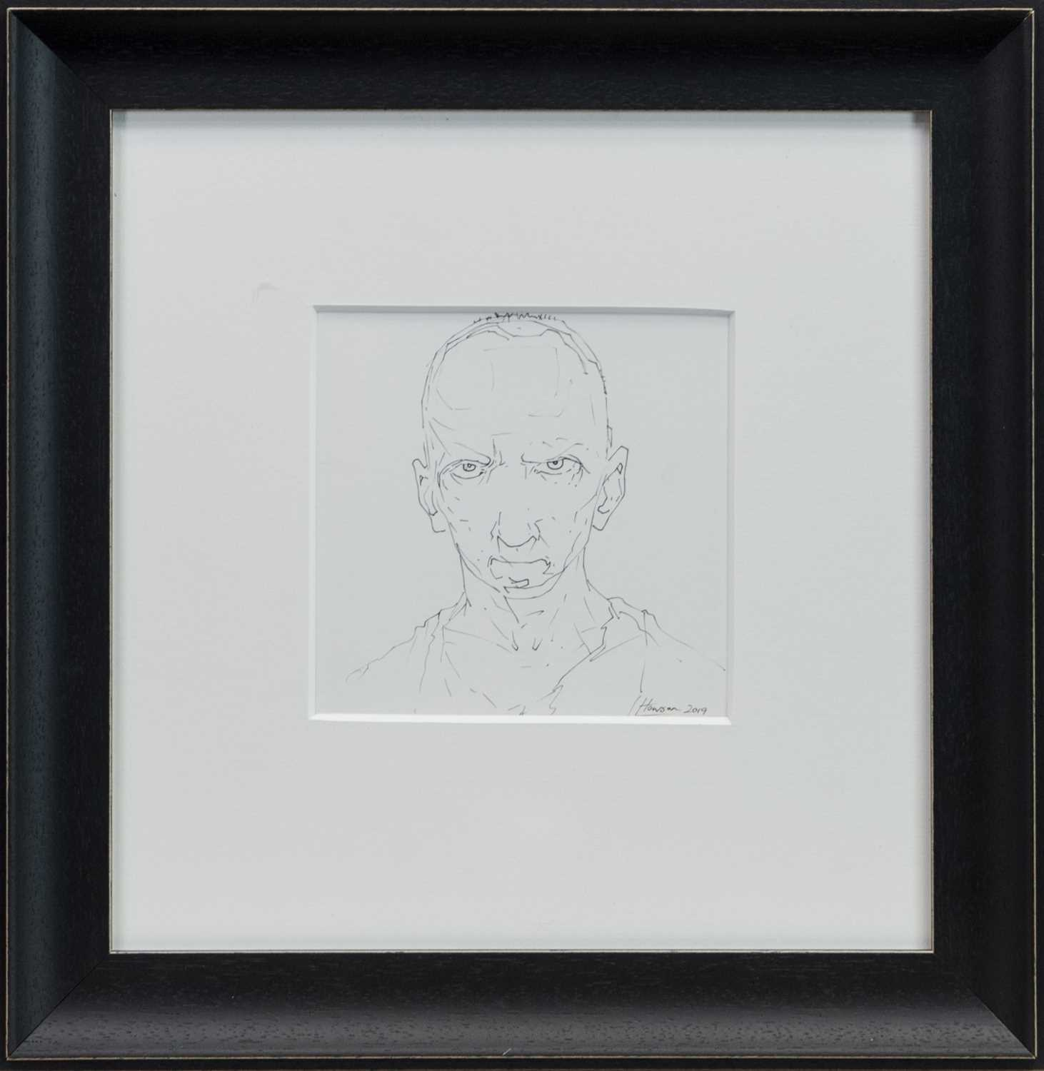 Lot 747 - AN UNTITLED INK SKETCH BY PETER HOWSON