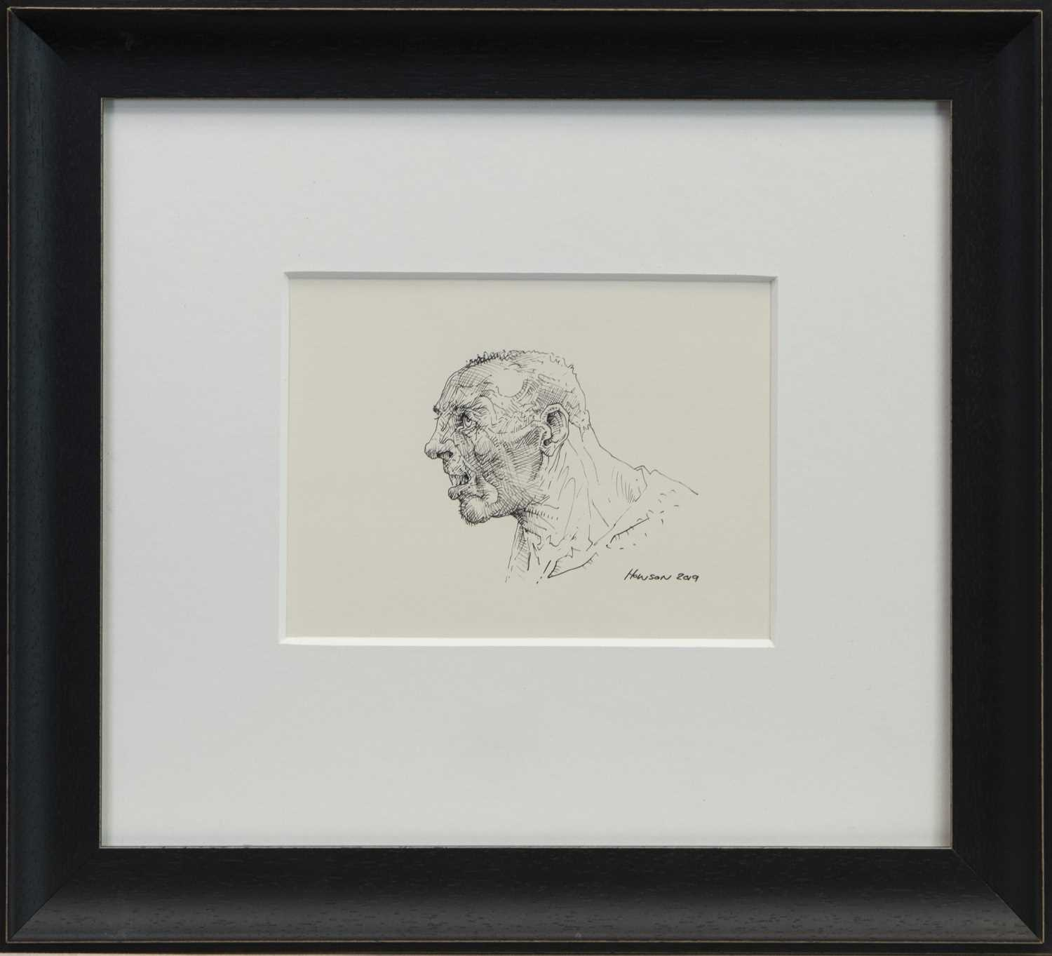 Lot 765 - AN UNTITLED INK SKETCH BY PETER HOWSON