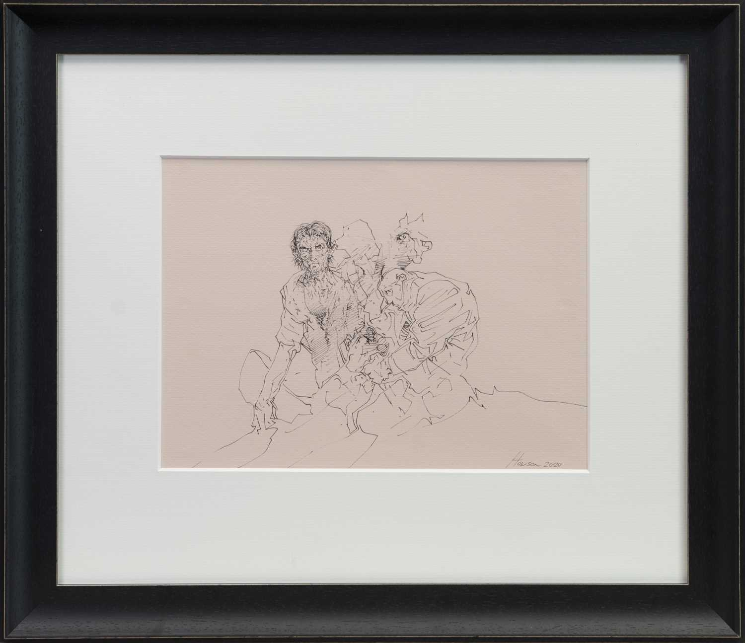 Lot 751 - AN UNTITLED INK SKETCH BY PETER HOWSON