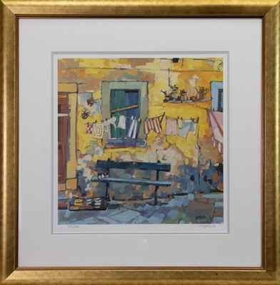 Lot 58 - THE WASHING LINE, A LIMITED EDITION PRINT BY LIN PATTULLO
