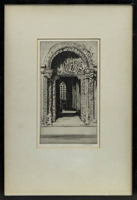 Lot 164 - ORNATE DOORS, AN ETCHING BY TOM MAXWELL