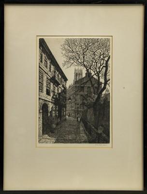 Lot 151 - JACOBEAN'S WALK,  CLIFFORD'S INN, AN ETCHING BY R M C LEEPER
