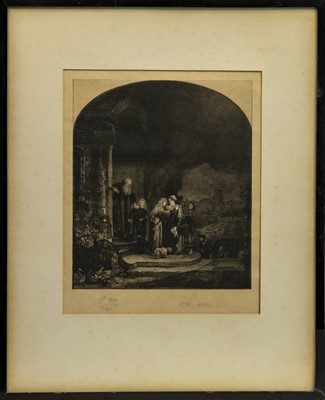 Lot 166 - SALVATION OF THE VIRGIN, AN ETCHING AFTER REMBRANDT