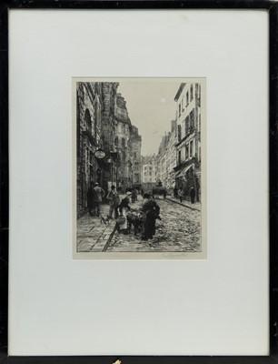 Lot 154 - A STREET IN PARIS, AN ETCHING BY L LOBBERMITTE
