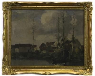 Lot 173 - WINTER VILLAGE, AN OIL BY DAVID GAULD
