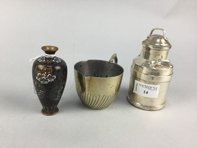 Lot 14 - A CHINESE CLOISONNE VASE ALONG WITH TWO CREAMERS