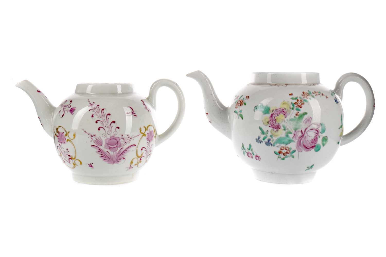 Lot 33 - TWO LATE 18TH CENTURY ENGLISH PORCELAIN TEAPOTS