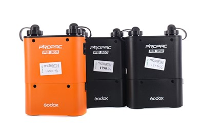 Lot 1790 - A LOT OF THREE GODOX PROPAC PB960 BATTERY PACKS