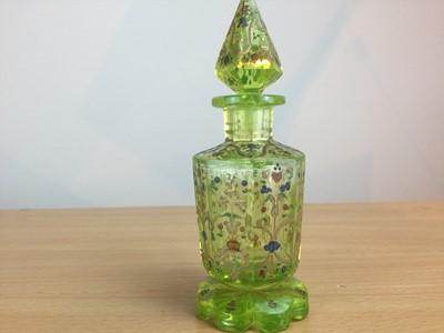 Lot 55 - A LATE 19TH CENTURY BOHEMIAN URANIUM GLASS SCENT BOTTLE