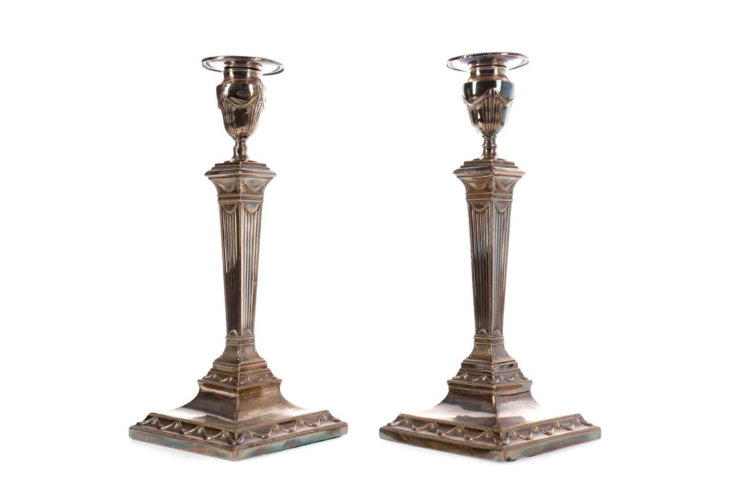 Lot 39 - A PAIR OF MID-19TH CENTURY SHEFFIELD PLATE CANDLESTICKS