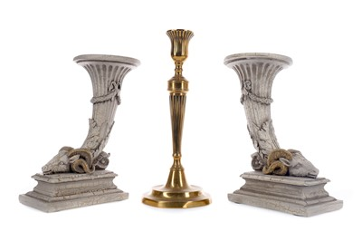 Lot 72 - A PAIR OF 20TH CENTURY SIMULATED STONE CANDLESTICKS AND A BRASS CANDLESTICK