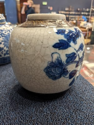 Lot 60 - A COLLECTION OF THREE 20TH CENTURY CRACKLE GLAZE GINGER JARS AND COVERS, ALONG WITH A CASKET
