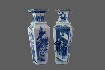 Lot 13 - TWO EARLY 19TH CENTURY CHINESE BLUE & WHITE PORCELAIN VASES