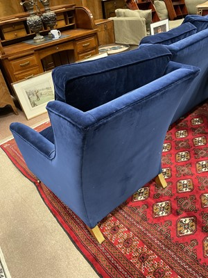 Lot 1396 - A BLUE TWO SEAT SETTEE AND ARMCHAIR