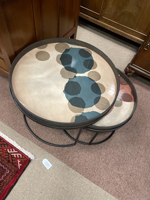 Lot 1398 - A NOTRE MONDE CIRCULAR NEST OF TWO TABLES