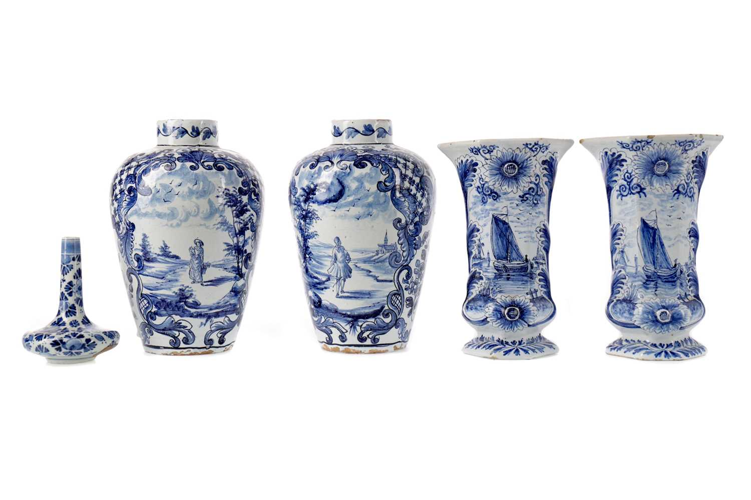 Lot 80 - A LATE 19TH CENTURY DUTCH DELFTWARE BLUE & WHITE SOLIFLEUR VASE, ALONG WITH TWO PAIRS OF VASES