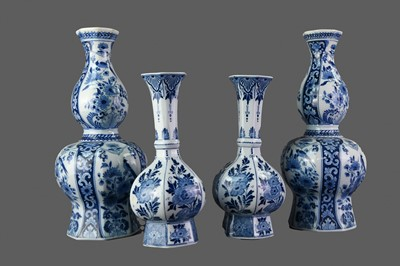 Lot 14 - A PAIR OF EARLY 20TH CENTURY DELFT BLUE AND WHITE VASES, ALONG WITH ANOTHER PAIR