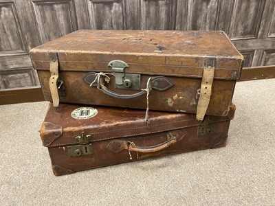 Lot 1377 - A LATE 19TH CENTURY GENTLEMAN'S LEATHER TRAVEL CASE AND ANOTHER