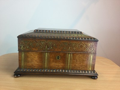 Lot 45 - A VICTORIAN BRASS INLAID ROSEWOOD SEWING BOX