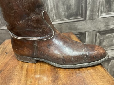 Lot 66 - A PAIR OF VICTORIAN BROWN LEATHER RIDING BOOTS