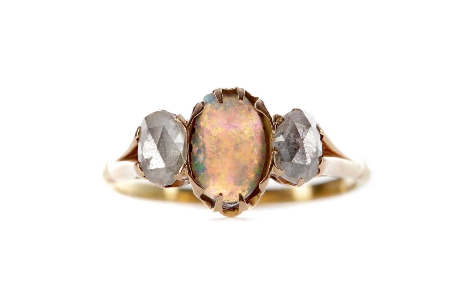 Lot 561 - AN OPAL AND DIAMOND RING