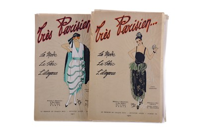 Lot 1405 - A COLLECTION OF 1920S 'TRES PARISIEN' FRENCH FASHION ILLUSTRATIONS