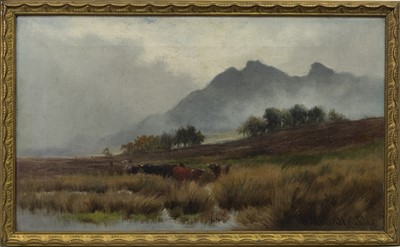 Lot 61 - CATTLE IN THE SCOTTISH HIGHLANDS, A PAIR OF OILS BY HENRY HADFIELD CUBLEY