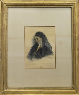 Lot 68 - PORTRAIT OF MARY ANNE BURR, A WATERCOLOUR BY JOHN DAWSON WATSON
