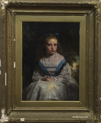 Lot 41 - YOUNG GIRL IN BLUE RIBBONS, AN OIL BY ALEXANDER JOHNSTON