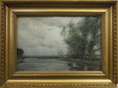 Lot 40 - RIVER SCENE, A WATERCOLOUR BY TOM SCOTT