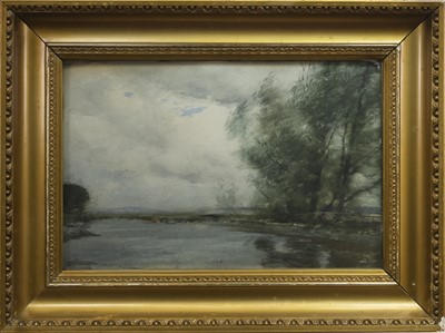 Lot 70 - RIVER SCENE, A WATERCOLOUR BY TOM SCOTT