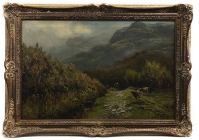 Lot 36 - GATHERERS IN THE HIGHLANDS, AN OIL BY HENRY HADFIELD CUBLEY