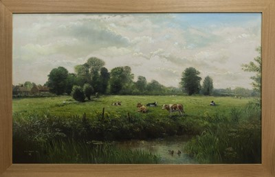 Lot 79 - CATTLE BY THE RIVER, AN OIL BY J G MACE
