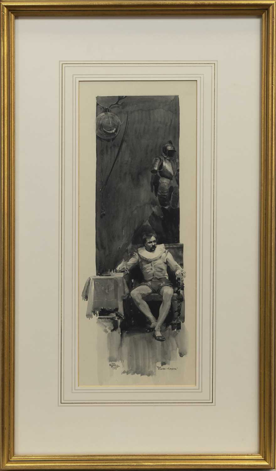 Lot 1 - THE CHESS PLAYER, AN EARLY WATERCOLOUR BY WILLIAM RUSSELL FLINT