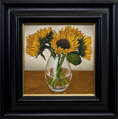 Lot 576 - SUNFLOWERS IN A GLASS VASE, AN OIL BY GRAHAM MCKEAN
