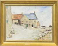 Lot 1212 - * JOHN ALLAN (1893-1979), COASTAL VILLAGE oil...